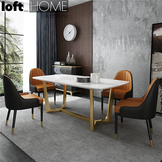 Marble / Stainless Steel Dining Table – Chelsea