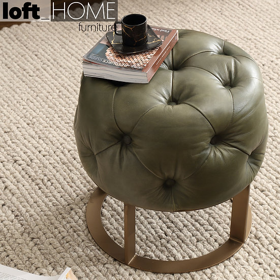 Genuine Leather Stool – Green Franco