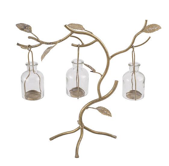 Metal & Glass Tree Tealight Holder, Holds 3 Tealights