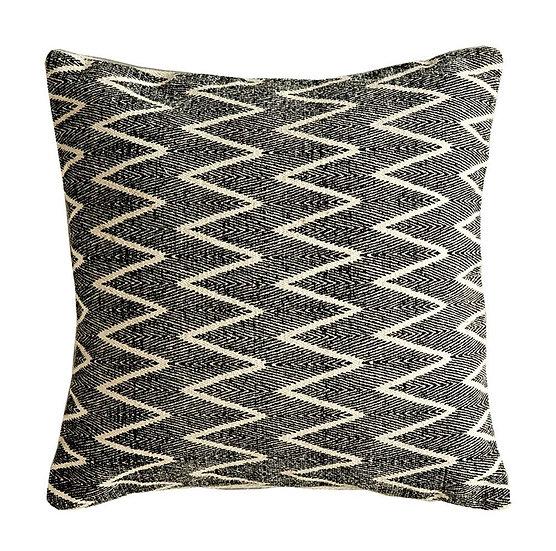 Cotton Cushion w/ Chevron Print, Natural & Black