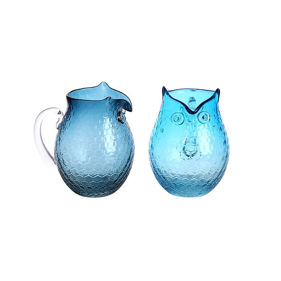 Glass Owl Pitcher, 2 Styles(2in1 Set)