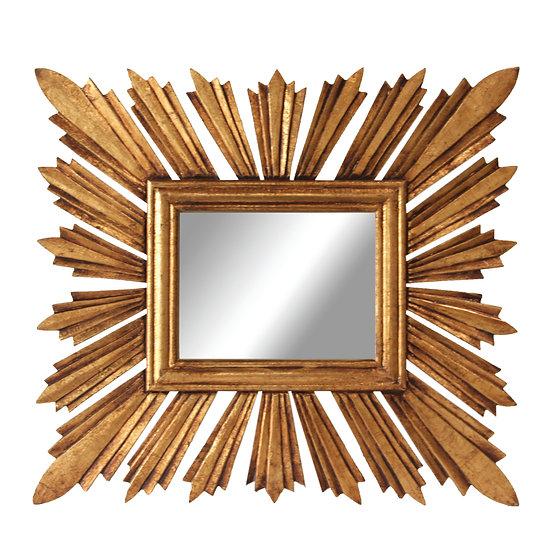 MDF Rectangle Sunburst Mirror, Gold Finish