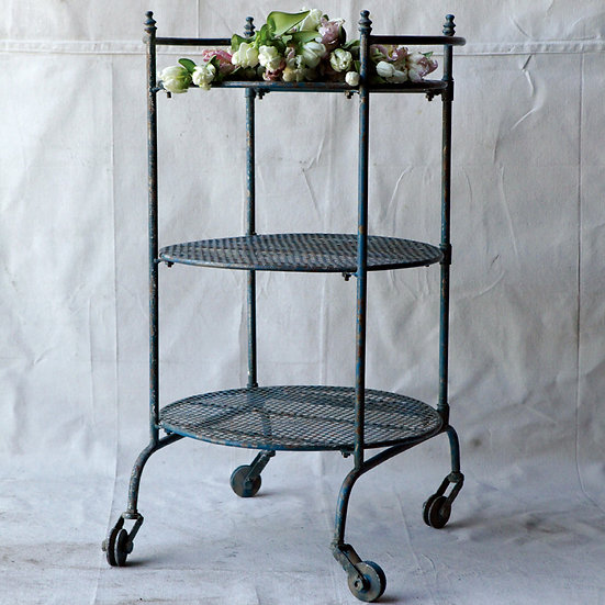 Metal 3-Tier Table on Casters, Distressed Finish, KD