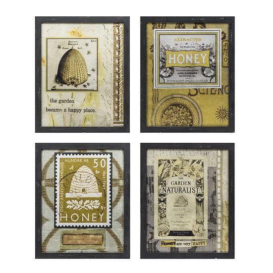 Lori Wood Framed Reversed Printed Glass Bee Skep Wall Art, 4 Styles ©