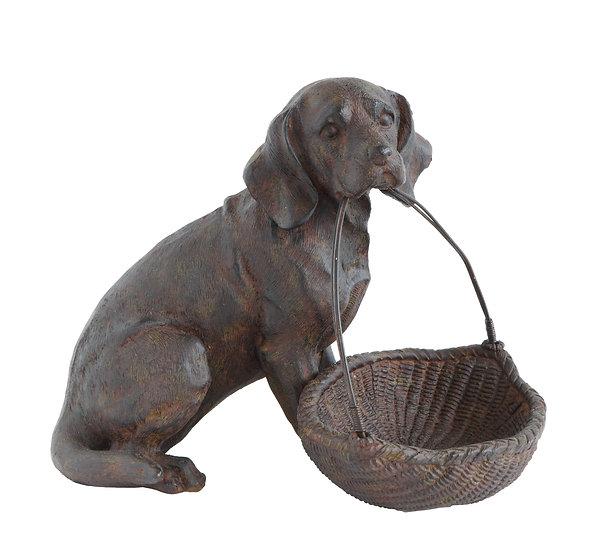 Resin Dog w/Basket