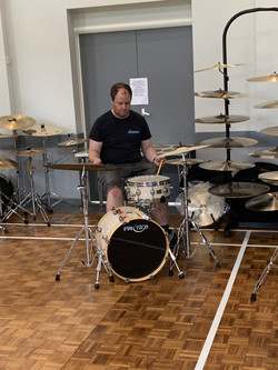 Dave trying out Impression Cymbals