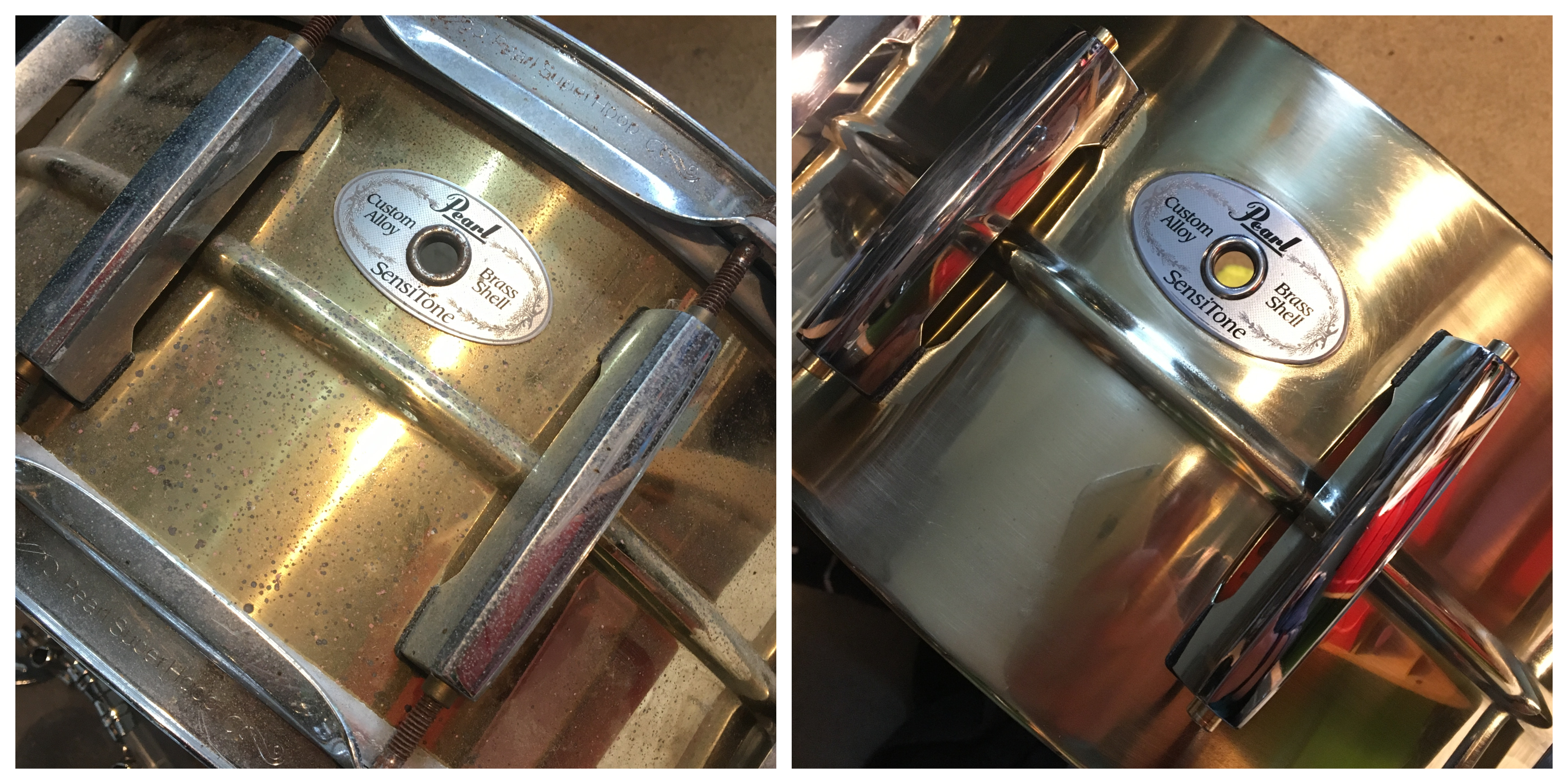 Pearl snare before & after