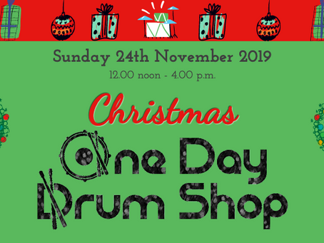 Christmas One Day Drum Shop - what's on offer!