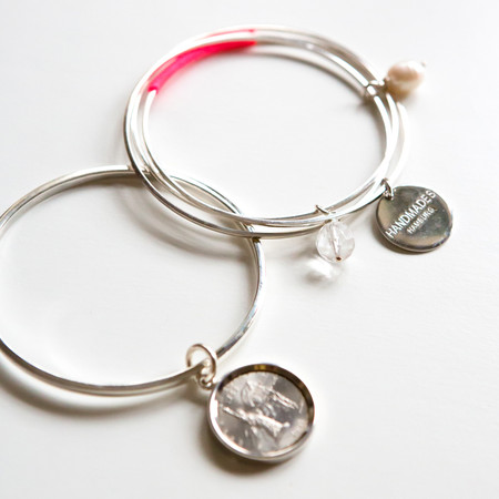 3-fach Armreif mit Anhänger / Armreif mit NY Münze 20mm Sterling Silber
