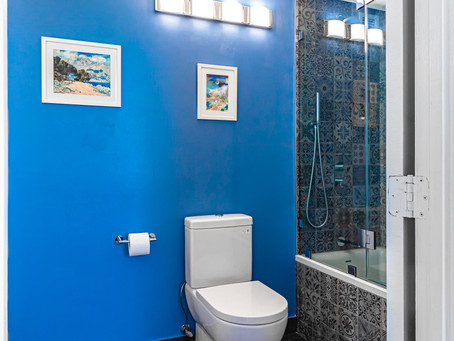 Marvelous Mosaic Shower with Flat Blue Accent Wall
