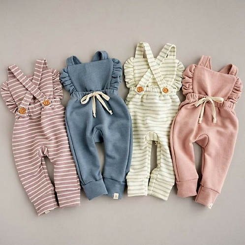 Baby Clothes Backless Striped Ruffle Romper Overalls Jumpsuit