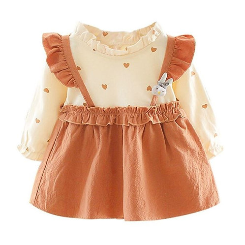 Autumn  Baby Girls Heart Print Long Sleeve Patchwork Dress Kids Toddler