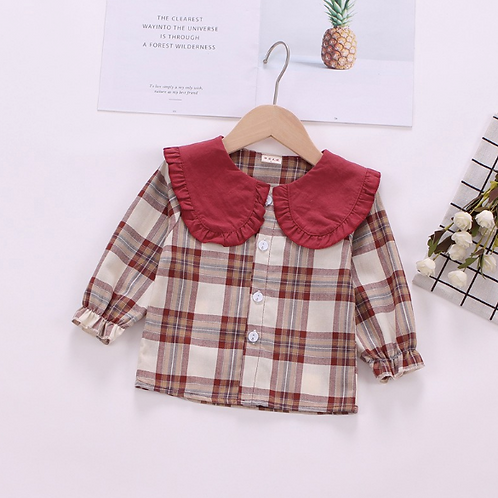 Toddler Baby Girl Outerwear Plaid Print Coats Kids Jackets Clothes Warm Tops