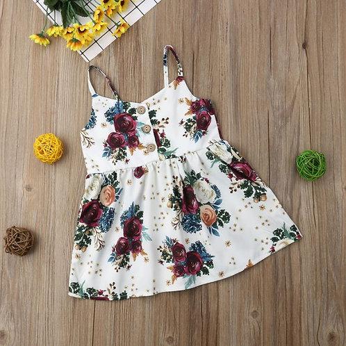 Cute Toddler Baby Girls Lovely Flower Princess Sleeveless Strap Dress Sundress