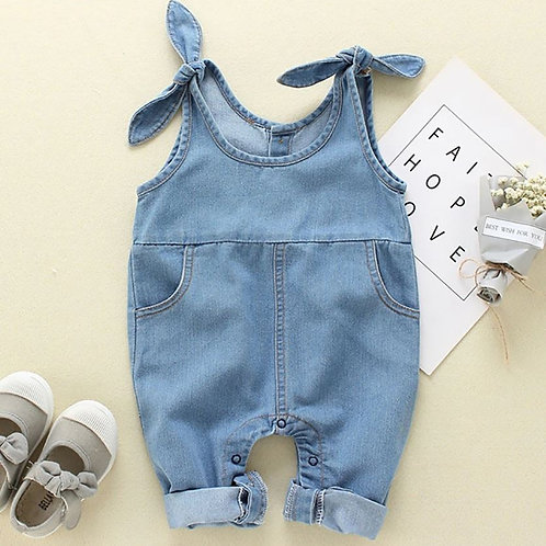 Baby Girls Suspender Children Denim Solid Pattern Sleeveless Pants Trousers