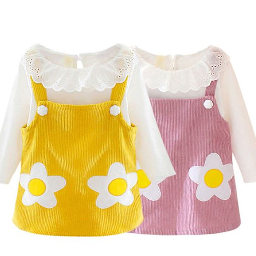 Autumn Baby Girl Flower Print Long-sleeved Sets White Top + Corduroy Sling Dress