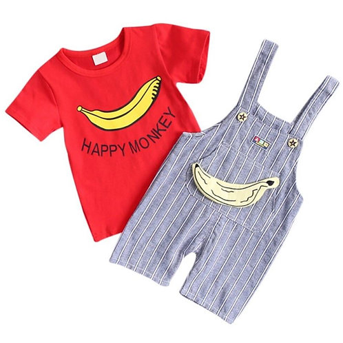 Summer Baby Short Sleeve T-shirt with Print Stripe Strap Pants 2 Pcs Outfits Set