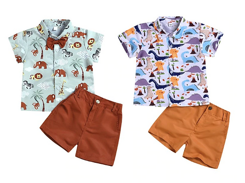 Baby Boys Casual Short Sleeve Cartoon Print T-shirt Tops+Shorts Costume Set