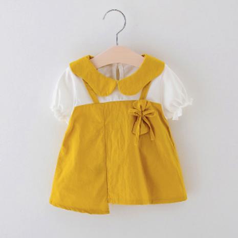 Baby Girls Clothes Round Neck Cotton Cartoon Print Short Sleeve Dress
