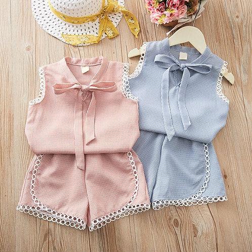 Baby Girl Clothes Summer Off-shoulder Short Sleeve Tops Blouse+Mini Skirts Set
