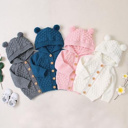 Baby Warm Coat 3D Ears Hooded Long Sleeve Knit Lovely Coat