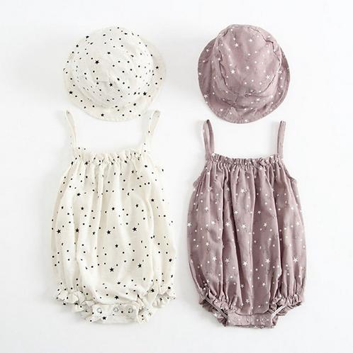 Baby Girl Rompers Cotton Star Pattern Infant Jumpsuit+Hat Set Newborn