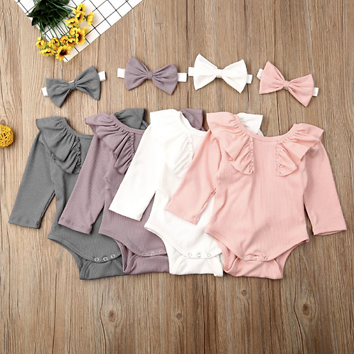 Baby Girl Solid Ruffle Bodysuit Soft Cotton Jumpsuit Fall Clothes+Headband Sets