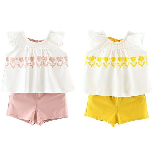 2 Pcs/set Summer Baby Girl Clothes Sleeveless Cotton Print Solid Shorts Toddler
