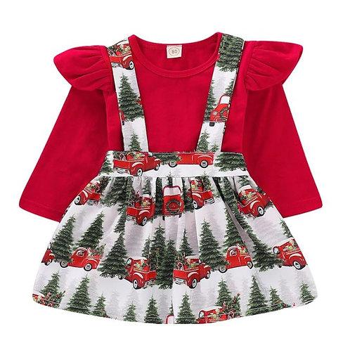Toddler Kids Baby Girls Red T Shirt Tops+Car Print Suspender Braces Skirt