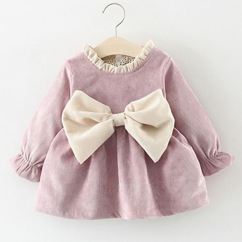 Cotton Newborn Kid Baby Girl Winter Clothes Bowknot Princess Party Pageant Dress