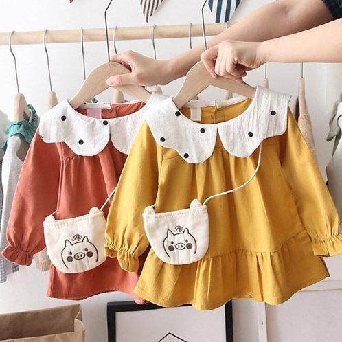 Autumn Casual Baby Girls Long Sleeve Polka Dot Print Dress Kids Sundress