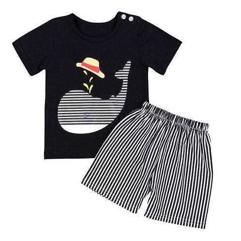 Baby Cute Short Sleeve Cartoon Printing T-shirts Tops+Stripe Shorts Toddler Set
