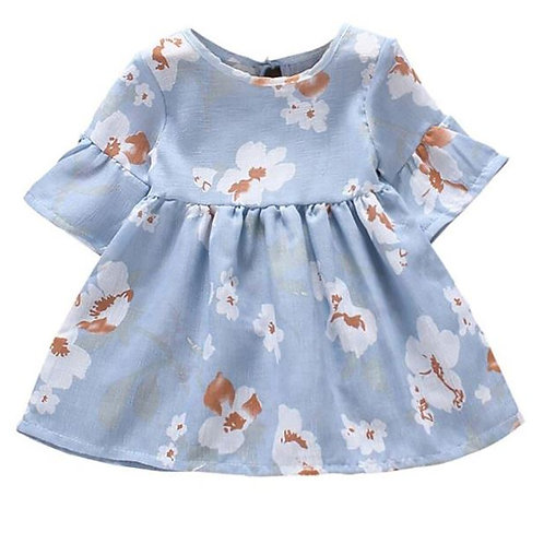 Casual Baby Girls Floral Print Dress Cotton Kids Flare Sleeve Dresses Sundress