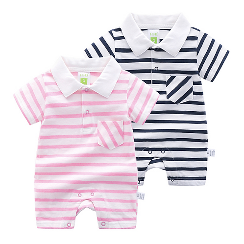 Short-Sleeve Striped Romper Summer Crawling Jumpsuit Infant Toddler
