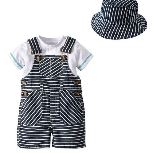 Baby Boys Summer Clothes Set Baby T-shirt Top+Suspenders Striped Pants+Hats Sets