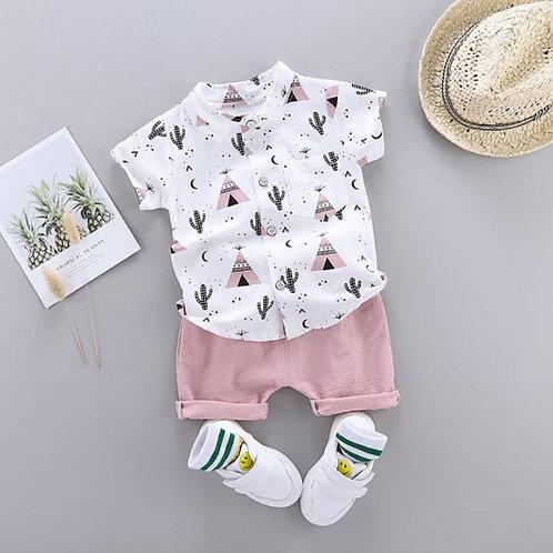 Summer Baby Boys Short Sleeve Floral pyramid Print T-shirt Tops+Shorts Set
