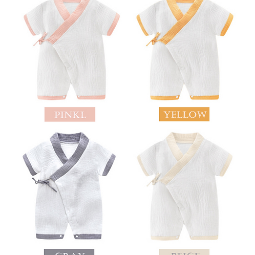 Baby Rompers Short Sleeve Newborn Infant Boy Girl Lacing Clothes Breathable