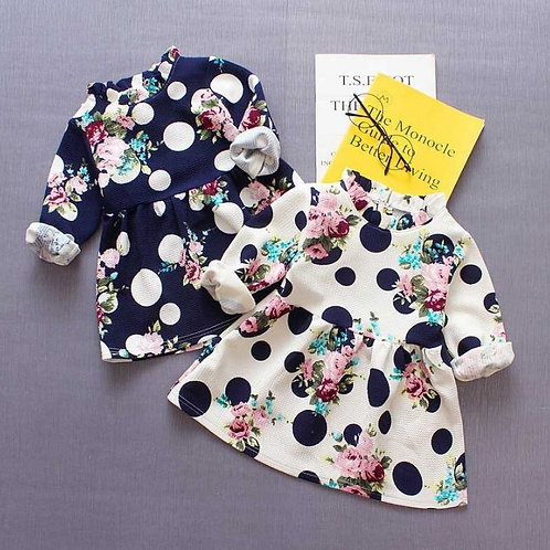Autumn Casual Baby Girls Floral Dot Print Long Sleeve Dress Toddler Pageant