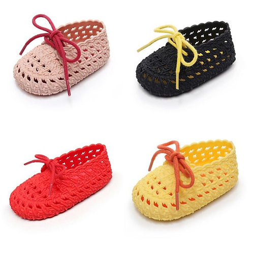 Baby Shoes Soft Bottom Jelly Shoes Laces Hollow Sandals for Kids