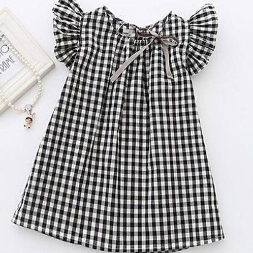 Summer Toddler Baby Girls Princess Plaid Kids Dress Casual Sundress Fly Sleeve