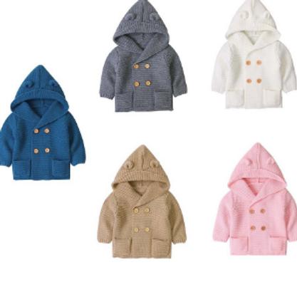 Baby Sweater Long Sleeve Hooded Jacket