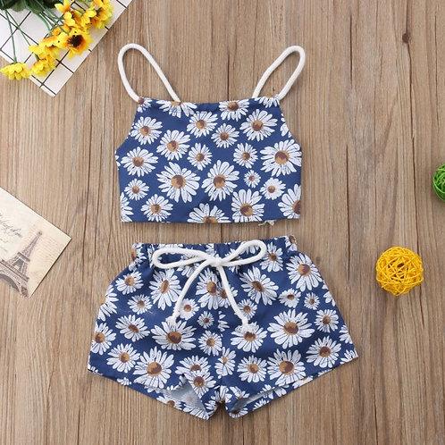 Baby Girls Set Flower Sleeveless Backless Crop Vest Top Short Pants Newborn