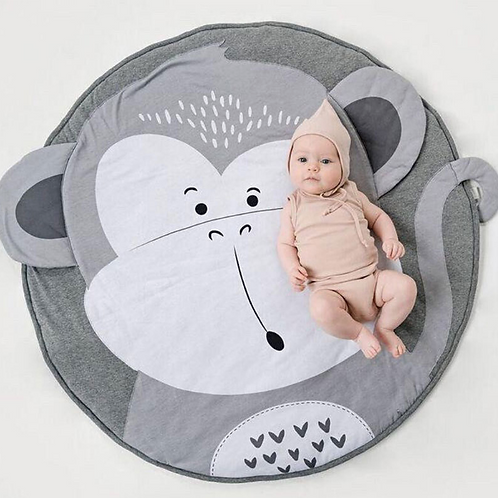 Baby Play Mats Monkey Crawling Blanket Carpet Round Floor Rug 90CM Bedding