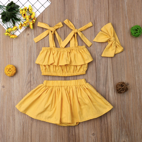 Baby Girl Clothes Sets Summer New Sleeveless Tops with Shorts Headband sets