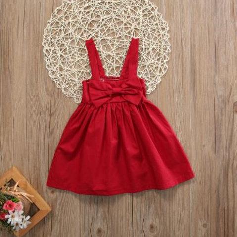 Red Big Bow Baby Girl Dress Toddler Sleeveless