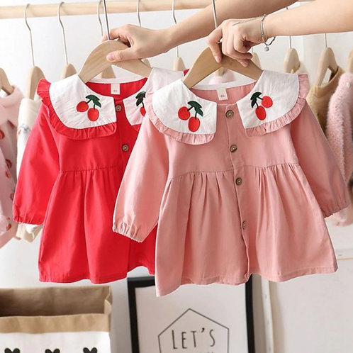 Casual Baby Girls Long Sleeve Cherry Print Dress Kids Pageant Princess Dresses