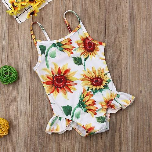 Swimwear Infant Baby Girls Flower Swimwear Sleeveless Romper Sling Bathing
