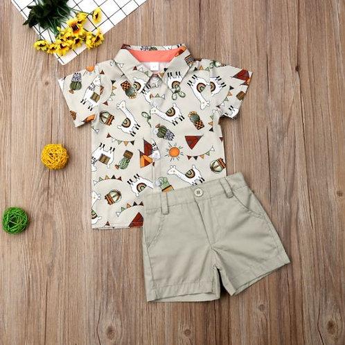 Toddler Baby Kids Boy Shirt Cartoon Animal Tops Shirt+Pants Outfits Clothes 2PCS