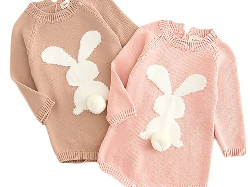 Newborn Baby Girl Cartoon Knitting Rabbit Pom Sweater Tops Romper Bodysuit