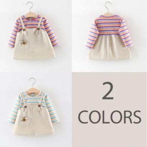 Toddler Girls Cute Long Sleeved Dress Cotton Long Sleeve